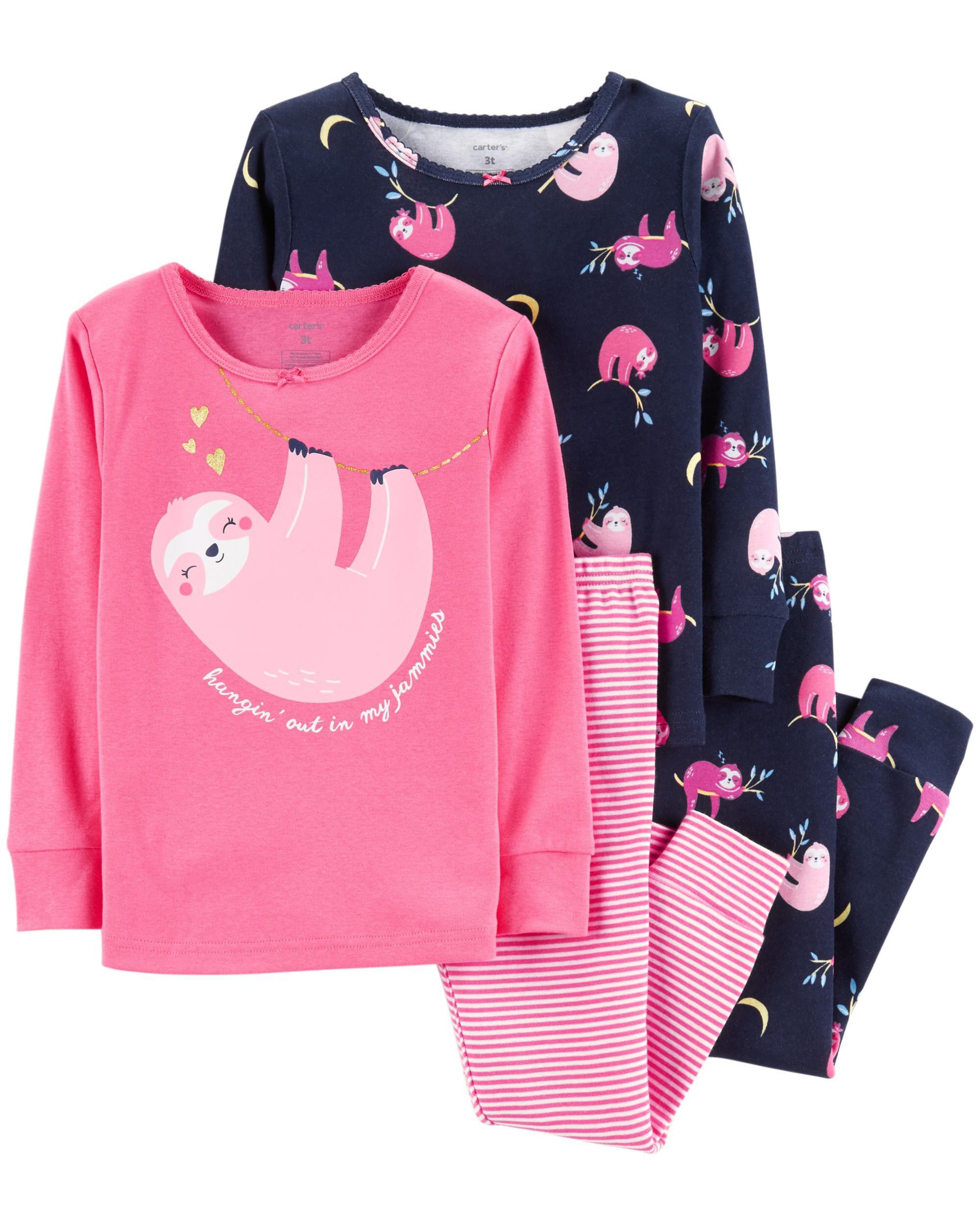 Carters Toddler Girl 4-Piece Short Long Sleeves PJs 4pc Pajamas Set Sleepwear 4T