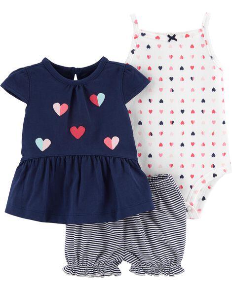 8143dc898 3-Piece Heart Little Short Set