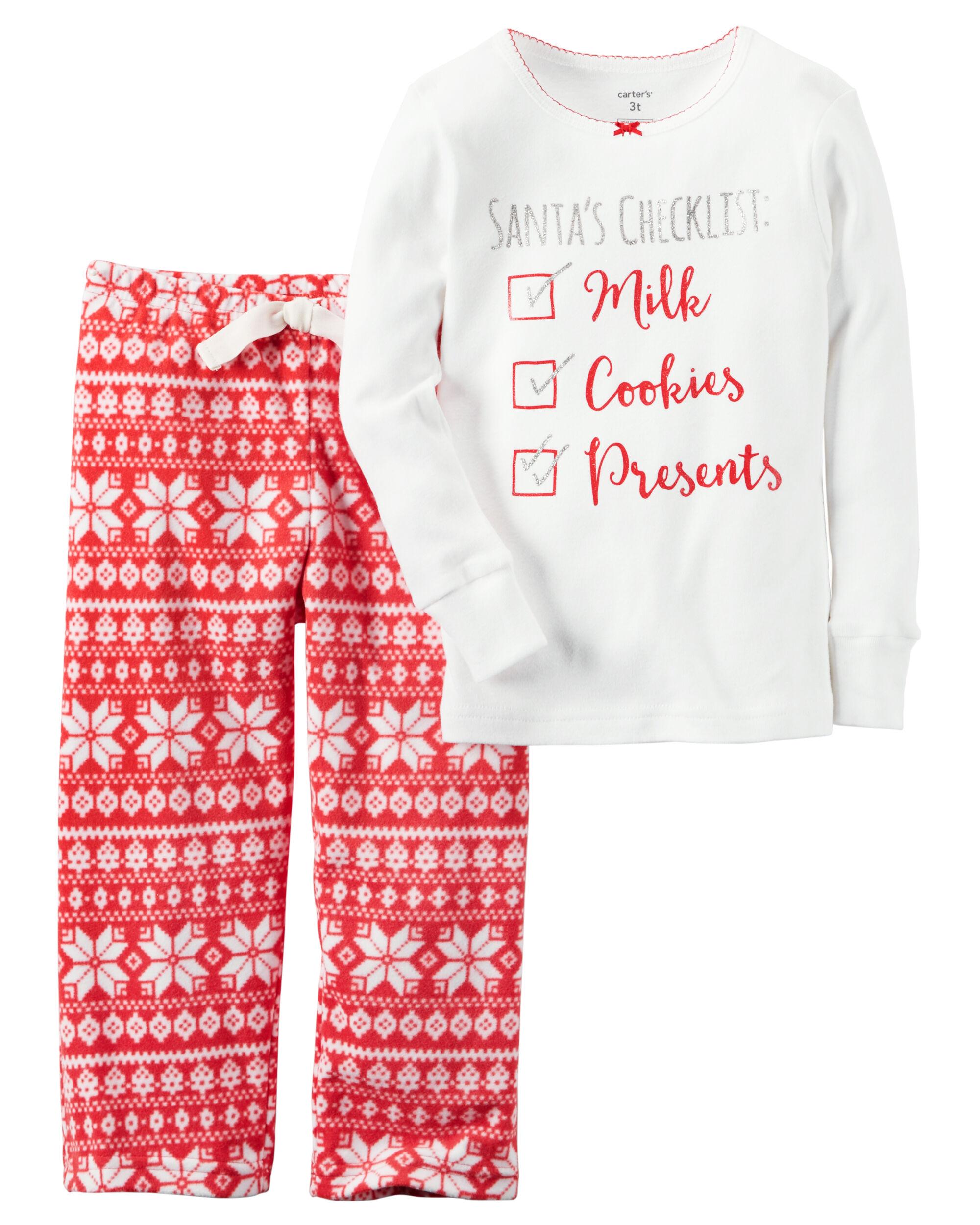 2-Piece Cotton & Fleece Christmas PJs   Carters.com