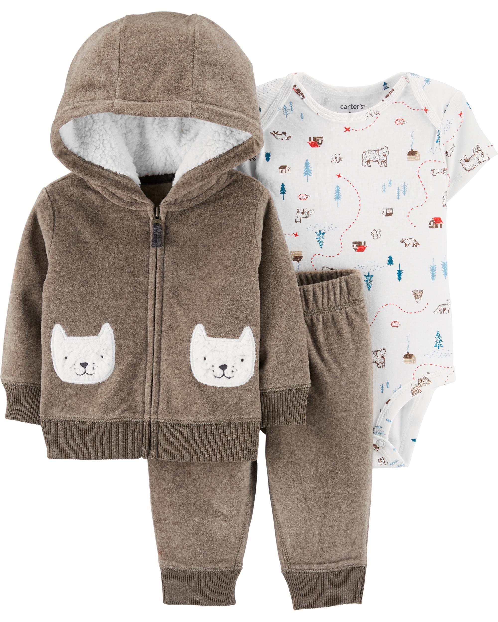 Grey Bear-3 months Carters Newborn 3-Piece Little Jacket Hoodie Set