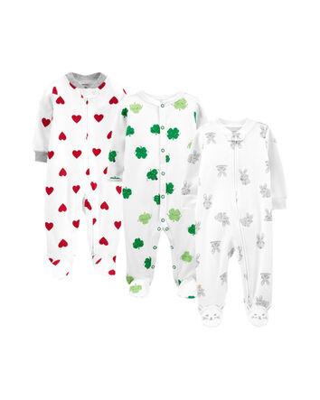 Toe Friendly Design 0-3 Months  ~ 3 Pack Girls  Unicorn Design Sleep-suits