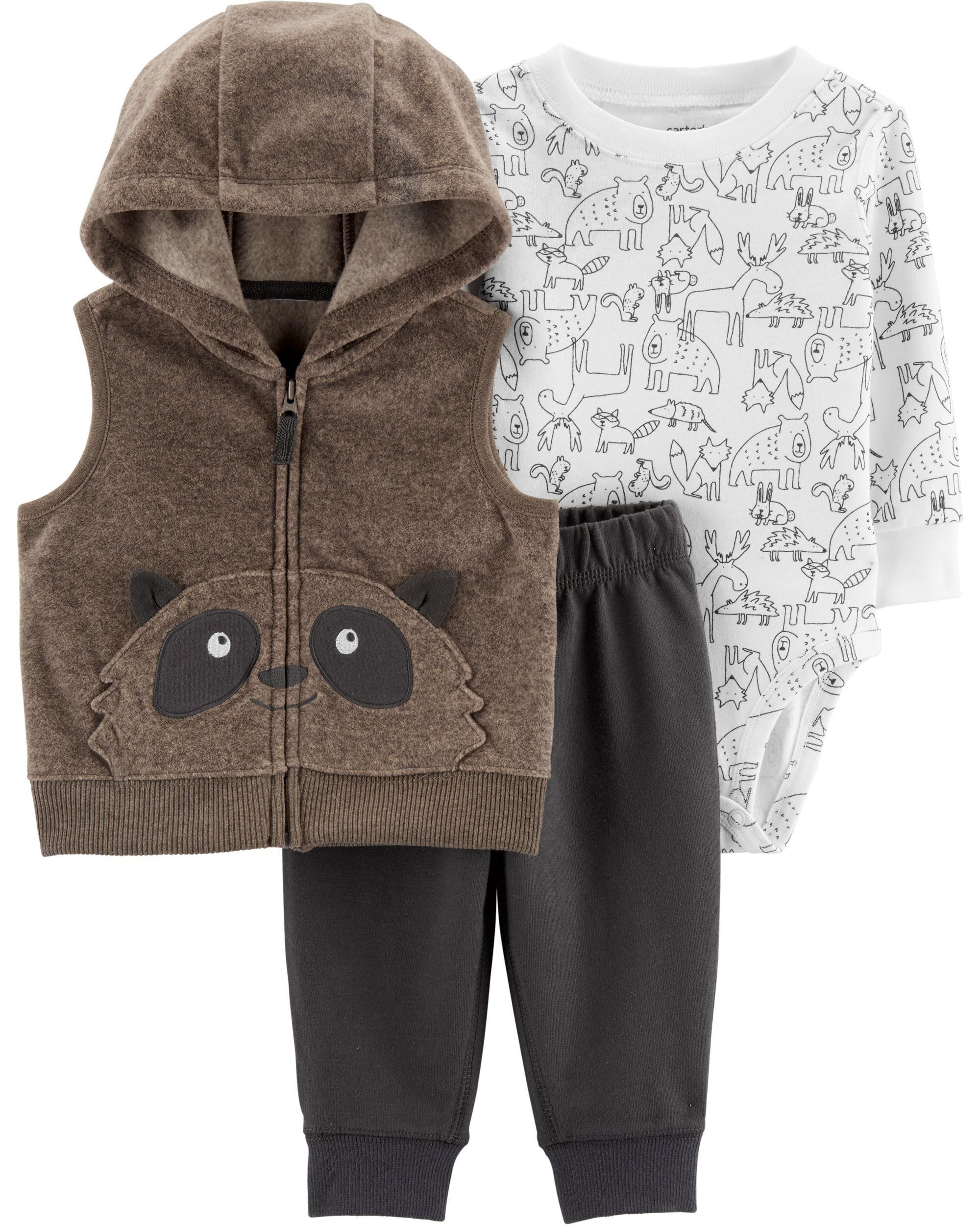 *CLEARANCE* 3-Piece Raccoon Little Vest Set