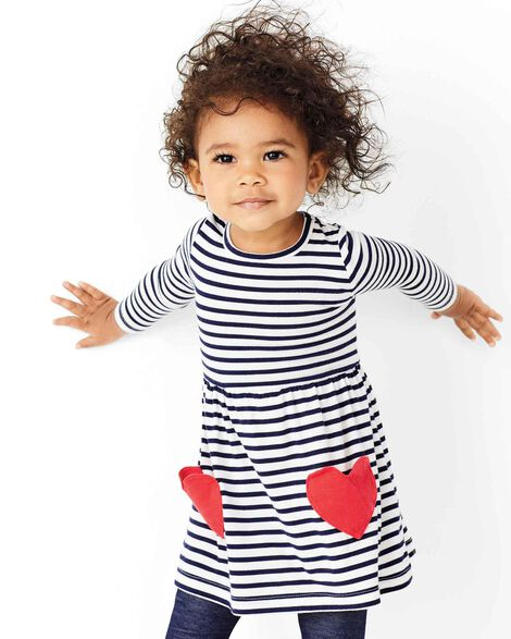 Striped Heart Jersey Dress