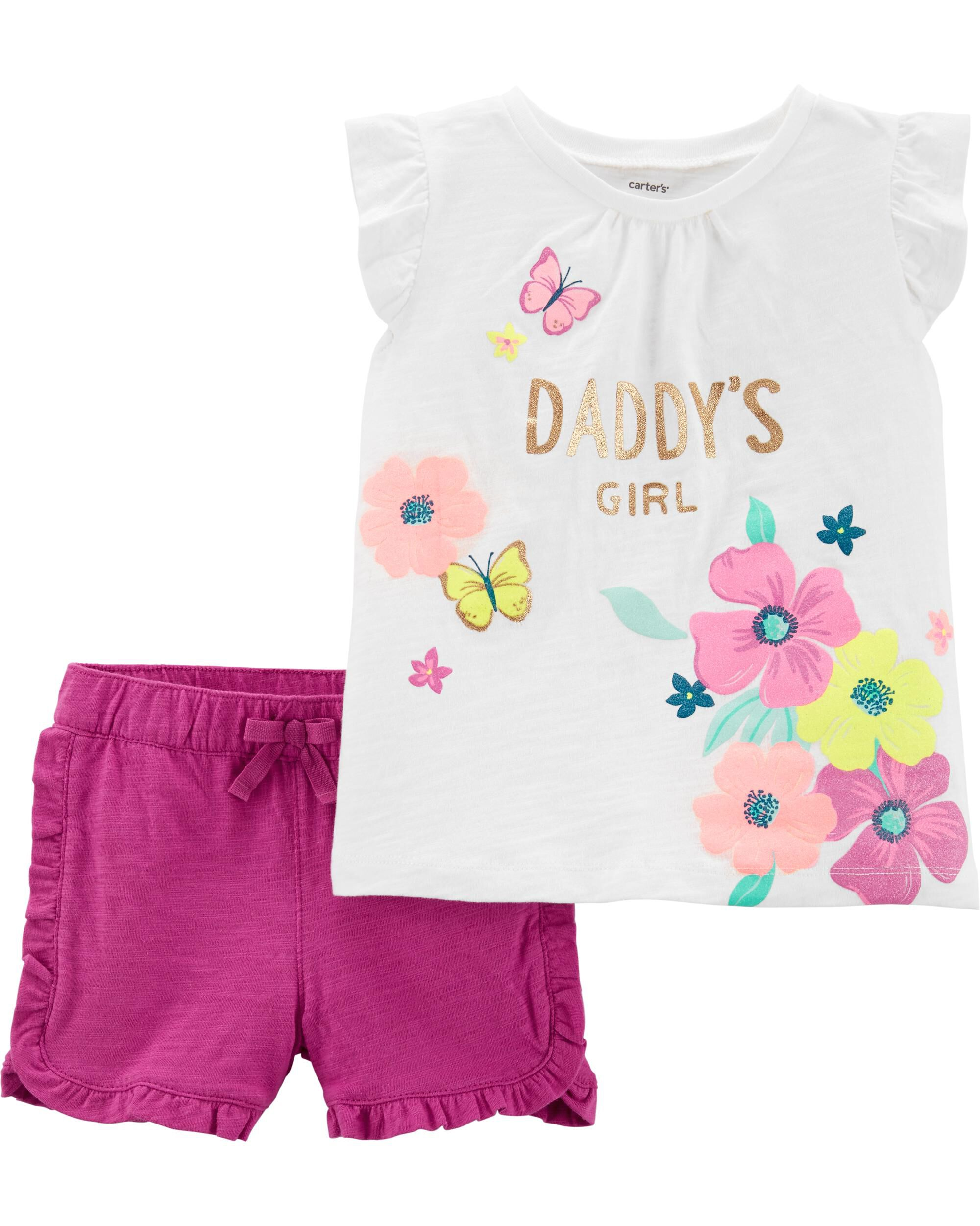 0984491ef915 2-Piece Daddy's Girl Floral Top & Ruffle Short Set | Carters.com