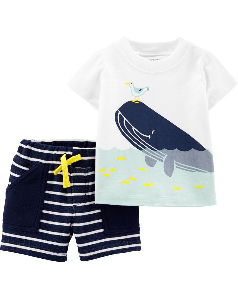NWT $16 Carter/'s Boy/'s 10 Blk w//White Side Stripe Roar Drawstring Sleep Shorts
