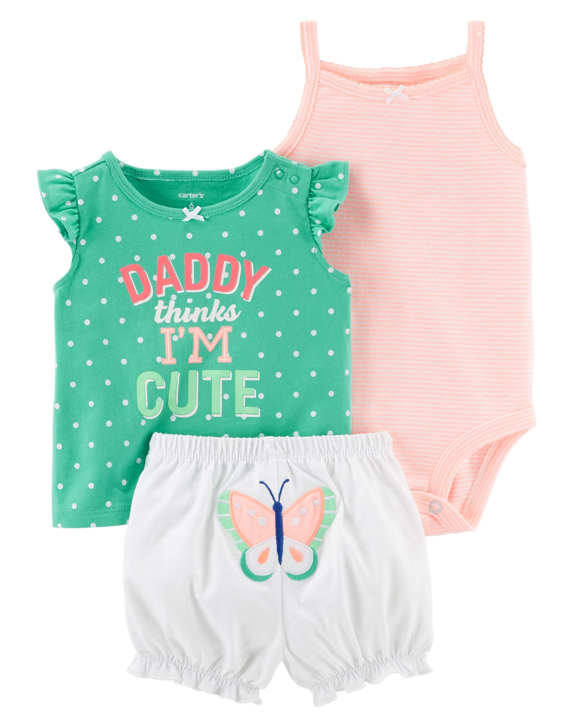 Carters Baby Boys 0M-12M 3 Piece Neon Little Shorts Set