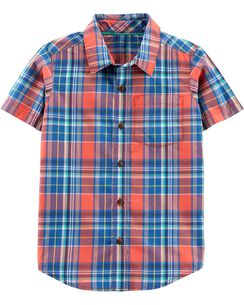 727688ff3b8c1 Plaid Poplin Button-Front Shirt