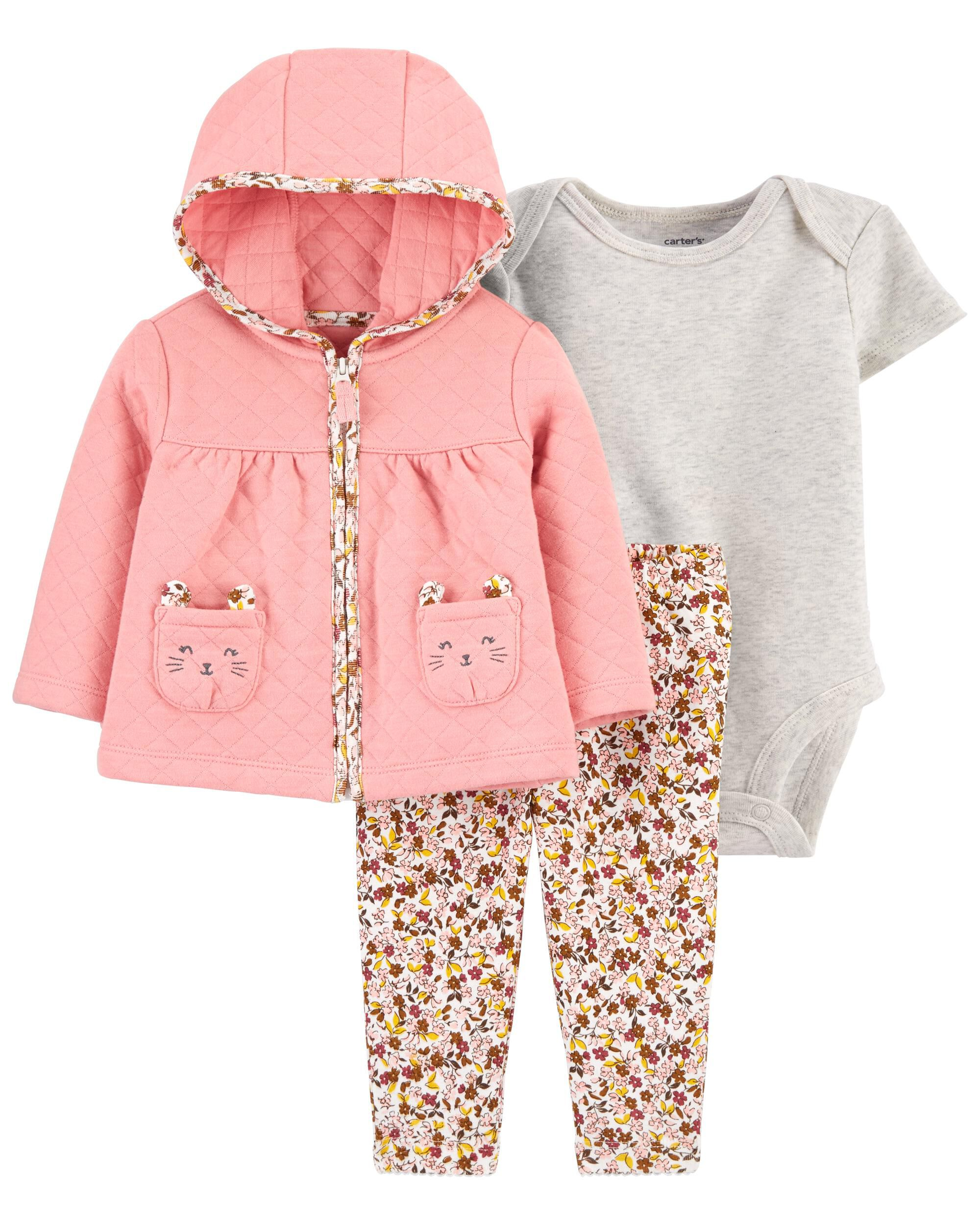 *CLEARANCE* 3-Piece Quilted Little Cardigan Set