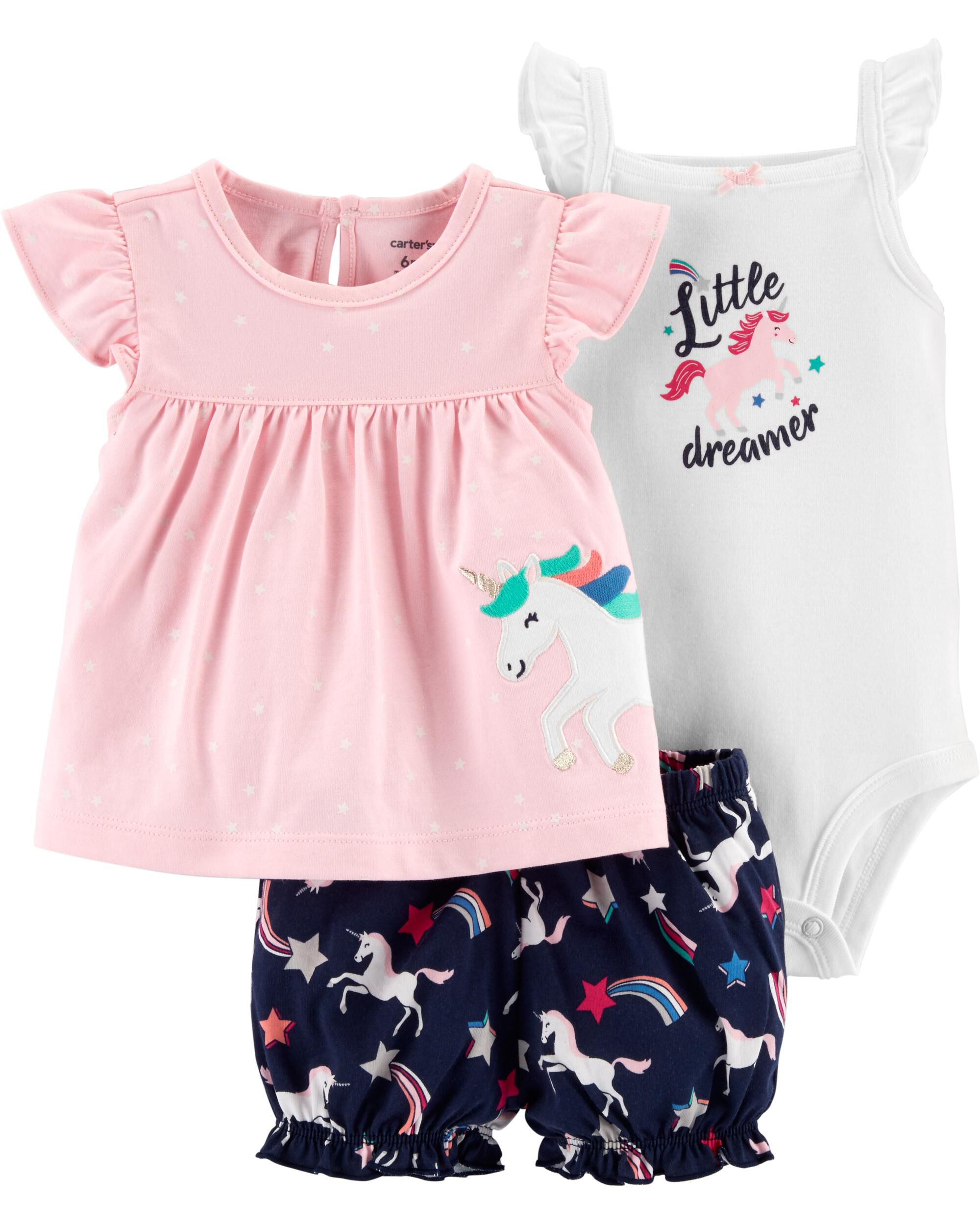 Carters Baby Girls 3pc Card Dress Set