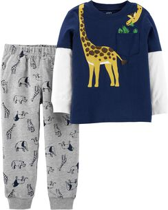 2-Piece Giraffe Layered-Look Tee   Animal Jogger Set 6de4fd6ed
