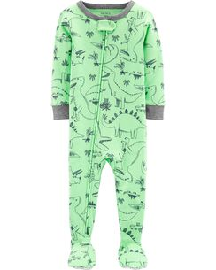 e6224d31d5 1-Piece Dinosaur Snug Fit Cotton Footie PJs