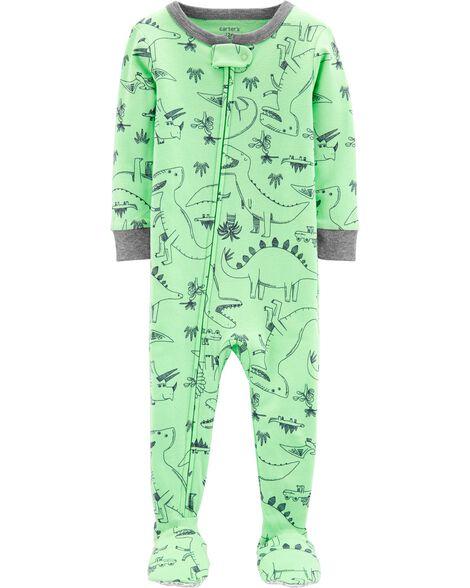 efefbcae7628 1-Piece Dinosaur Snug Fit Cotton Footie PJs