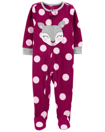 NWT ☀FOOTED FLEECE☀ CARTERS Girls Pajamas LEOPARD CAT New     4T
