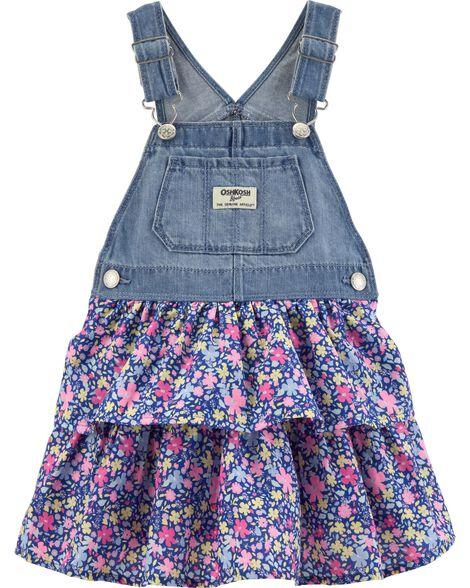 1bb83b32ccb6 Baby Girl Floral Denim Jumper