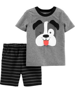 869a588d9f62 2-Piece Dog Jersey Tee   Striped Short Set
