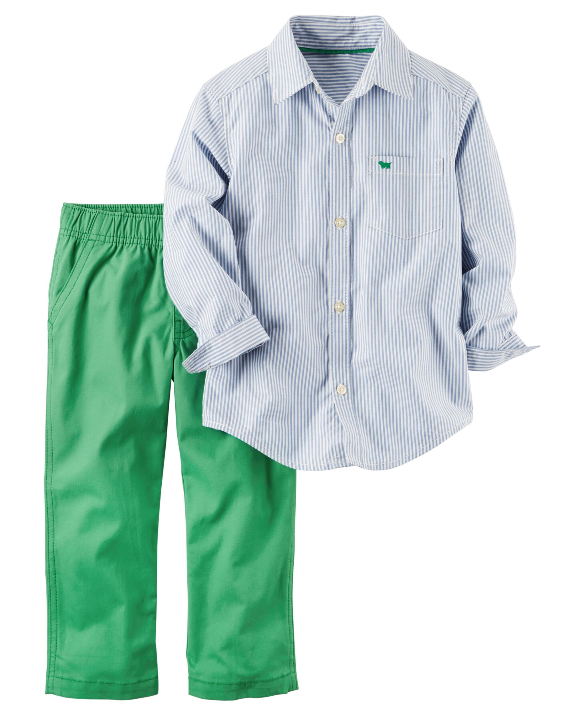 2-Piece Striped Button-Front & Canvas Pant Set   Carters.com