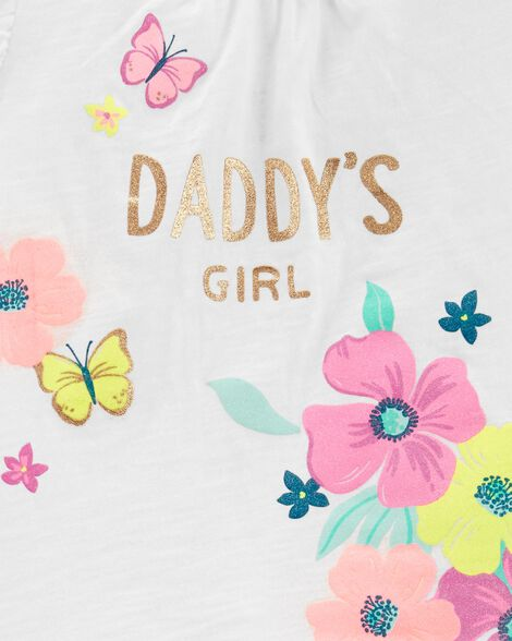 2-Piece Daddy's Girl Floral Top & Ruffle Short Set