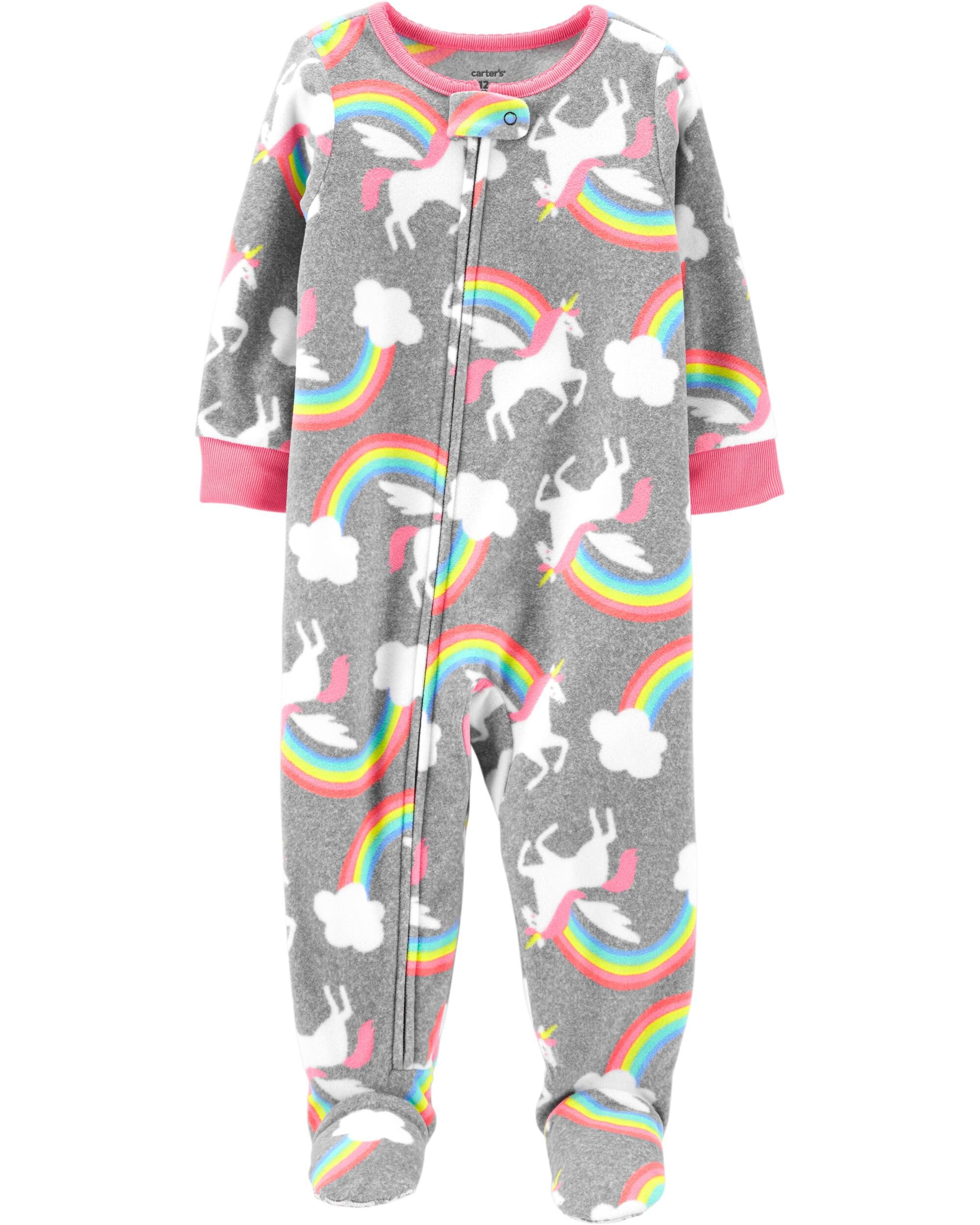 1-Piece Rainbow Unicorns Fleece Footie PJs
