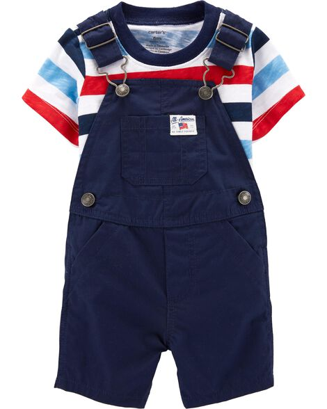 2-Piece 4th Of July Tee & Shortalls Set