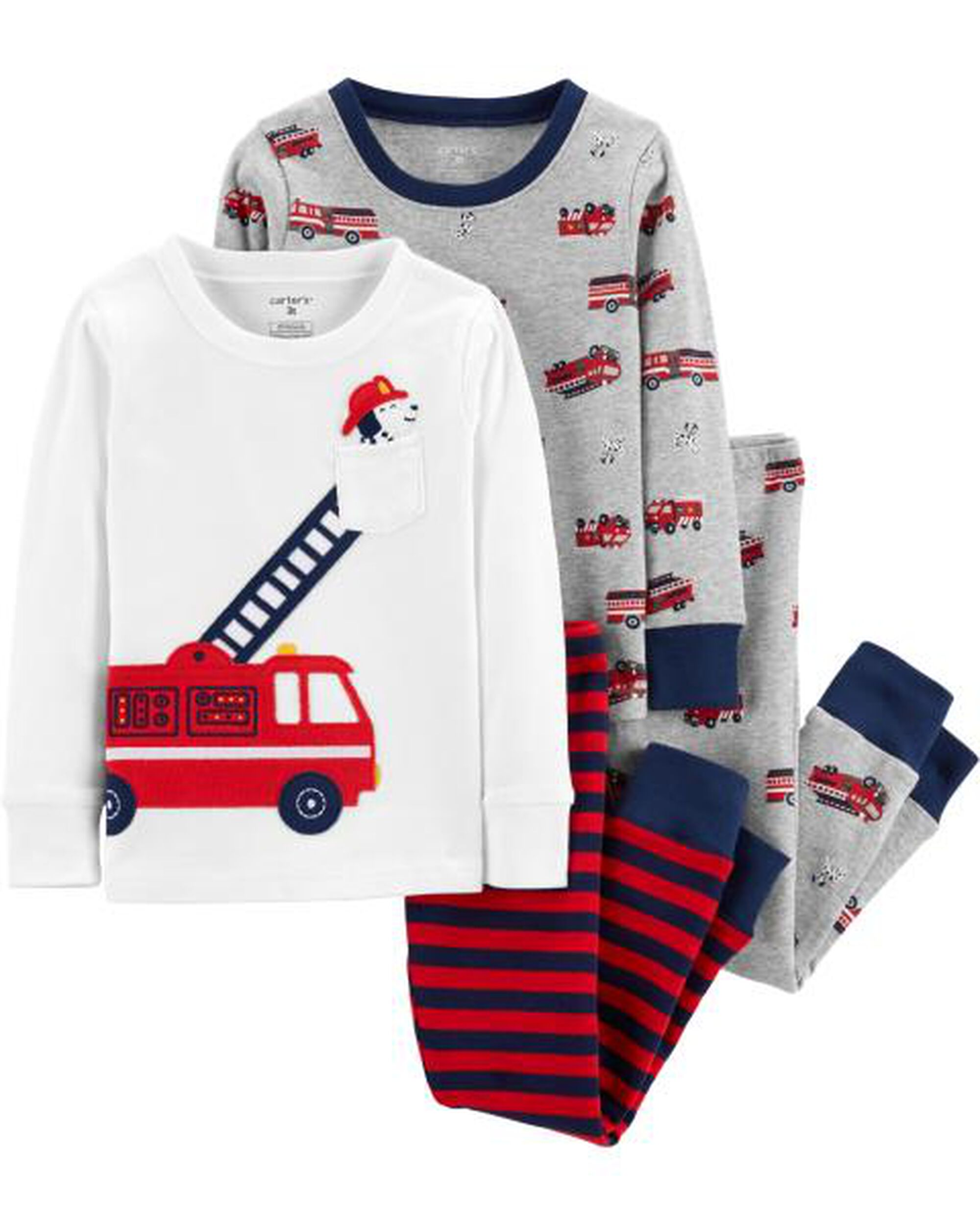 0e3c6cb28 4-Piece Firetruck Snug Fit Cotton PJs
