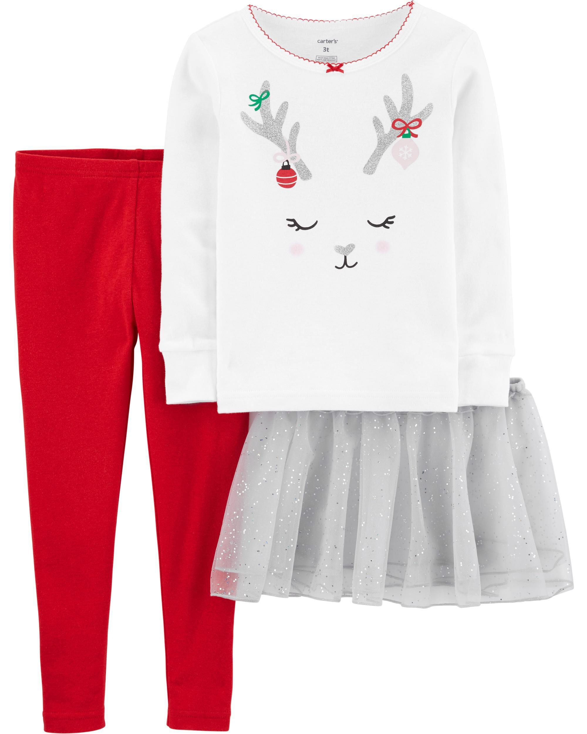 *CLEARANCE* 3-Piece Reindeer Snug Fit Cotton PJs