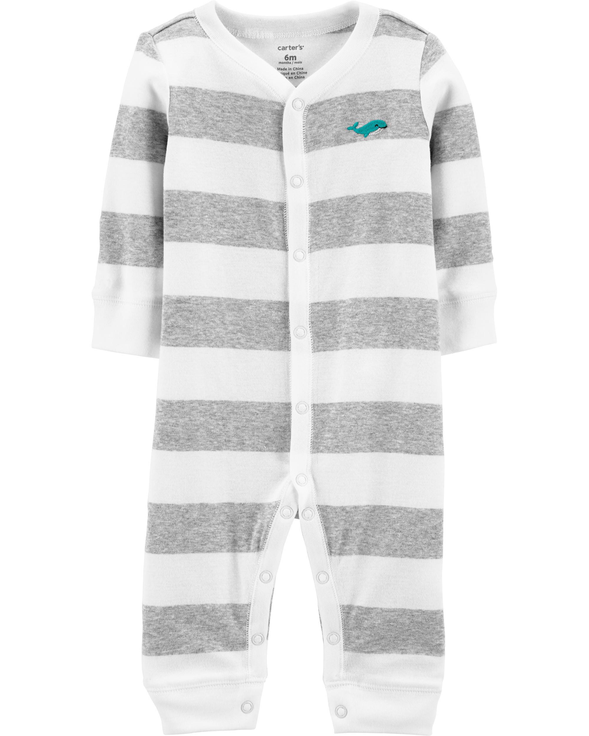 Carter/'s Little Boys Fleece Footed Sleepers Blue//Gray Striped w//Rocket