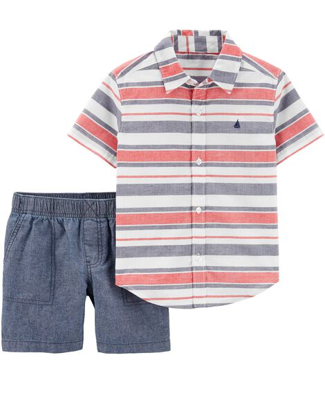 2-Piece Striped Button-Front Top & Chambray Short Set