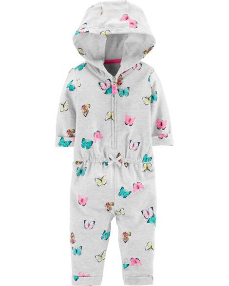 Hooded Zip-Up Butterfly Jumpsuit
