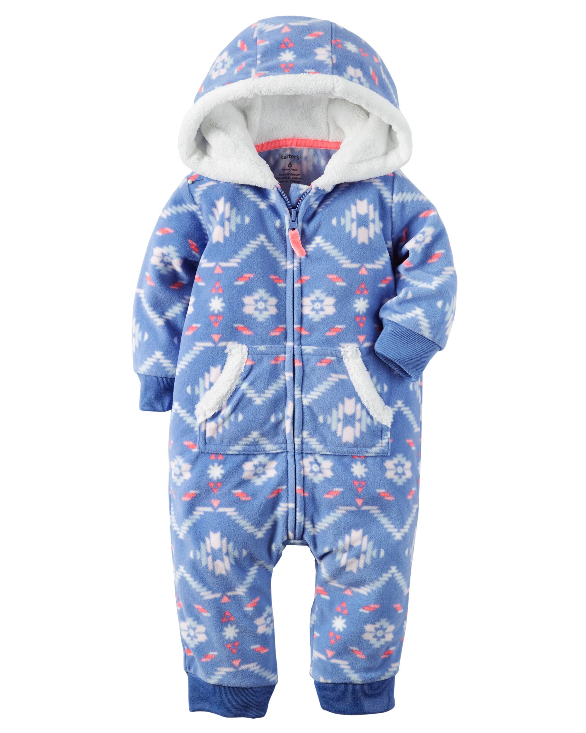 Hooded Fleece Jumpsuit Carters Com