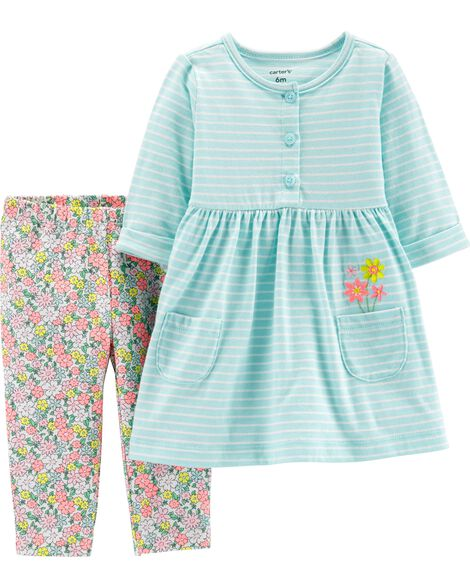 97beb06f5 2-Piece Striped Dress & Floral Legging Set | Carters.com