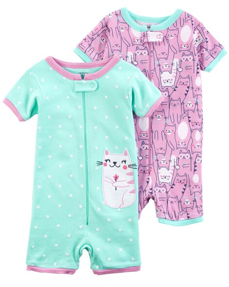de17085e40f0 2-Pack Zip-Up Snug Fit Cotton Romper PJs ...