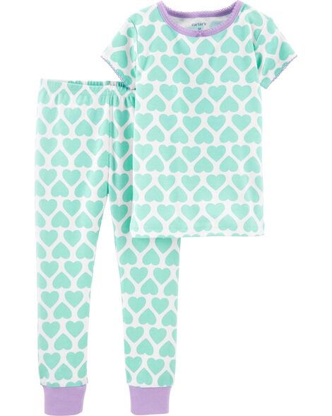 2-Piece Heart Snug Fit Cotton PJs
