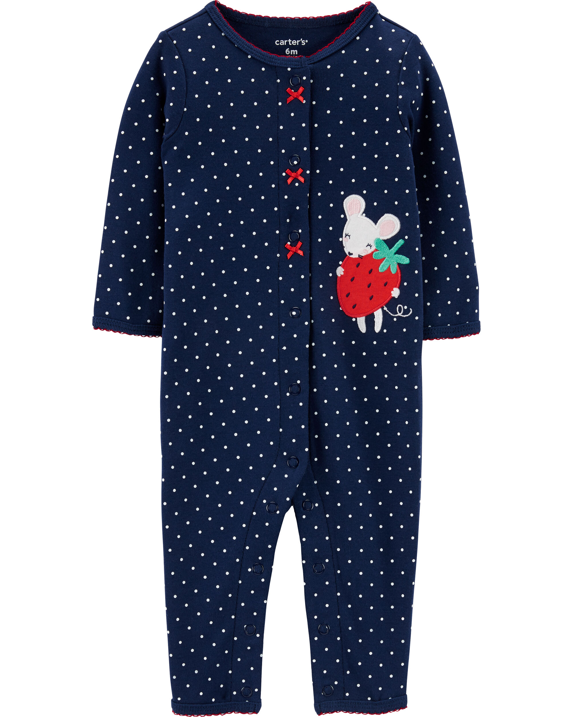 *DOORBUSTER* Strawberry Mouse Snap-Up Cotton Footless Sleep & Play