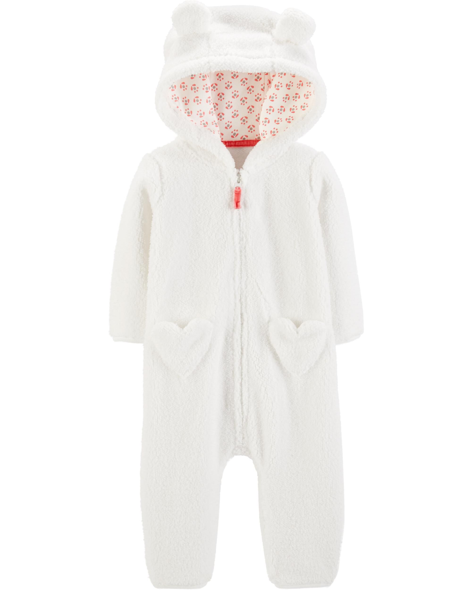 d924723ab Baby Girl Hooded Sherpa Jumpsuit
