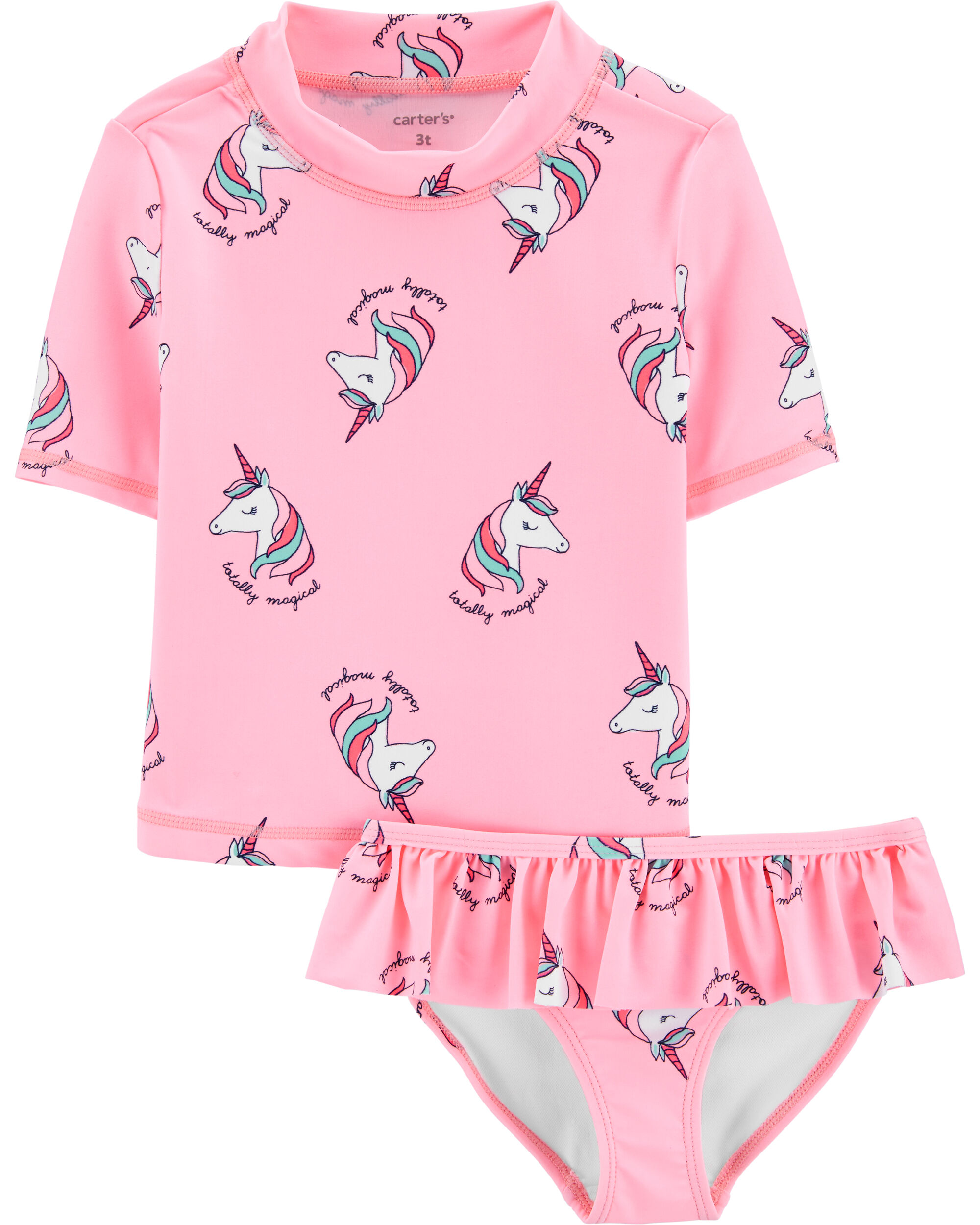 NWT Carter/'s Size 3T or 4T Unicorn Rash Guard Swimsuit Bathing Suit 2 piece