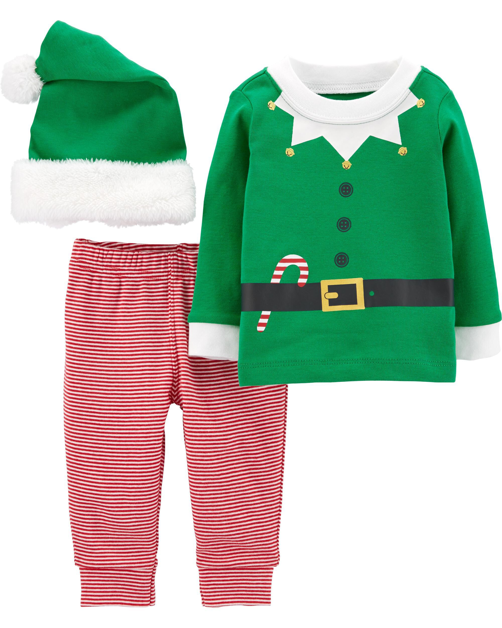 Santa/'s Christmas Elf Baby Girl Dress,Tights 4 Preemie and Newborn Sizes Hat