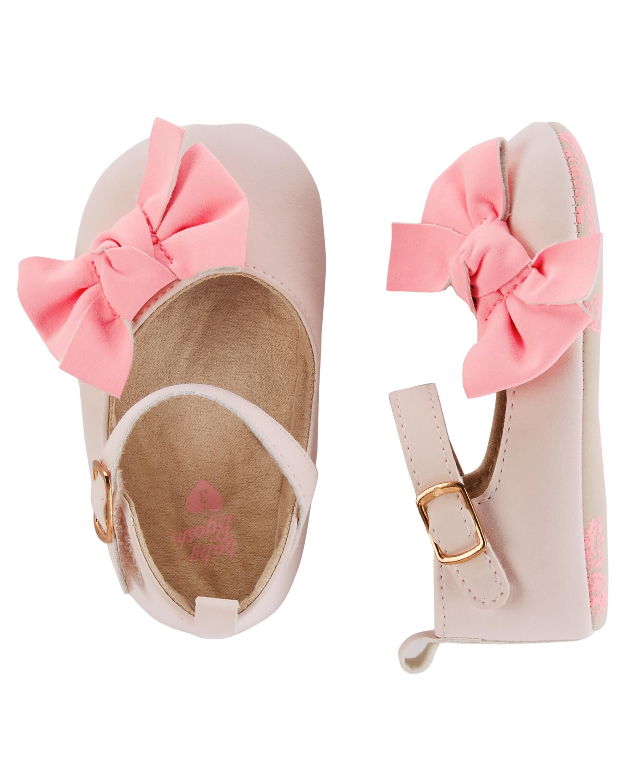 Baby Girl OshKosh Pink Bow Crib Shoes
