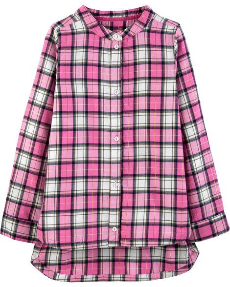 Plaid Metallic Twill Flannel Tunic