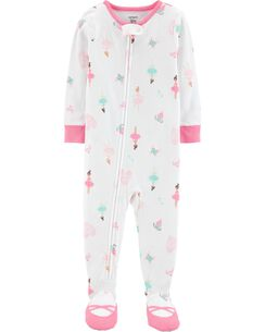 1694726a7d 1-Piece Ballerina Footed Snug Fit Cotton PJs