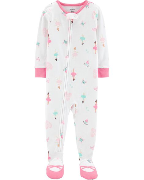 58e8bf5a064b 1-Piece Ballerina Footed Snug Fit Cotton PJs