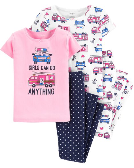 9e80352d6235 4-Piece Firetruck   Police Car Snug Fit Cotton PJs