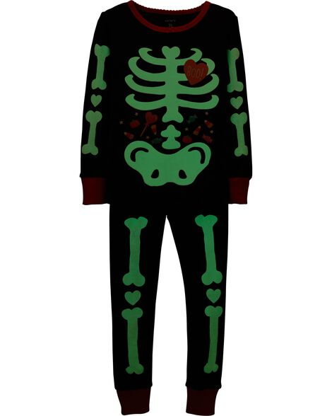 737e3ae00 2-Piece Glow-In-The-Dark Halloween Snug Fit Cotton PJs