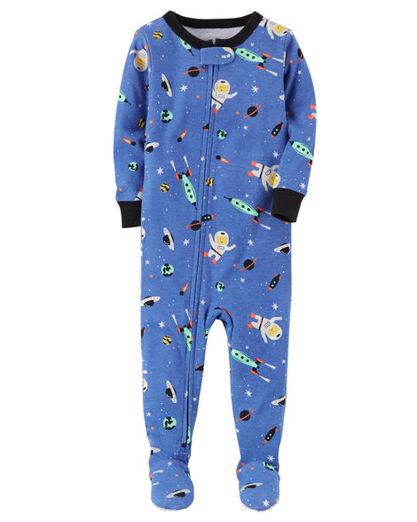 1-Piece Space Snug Fit Cotton PJs