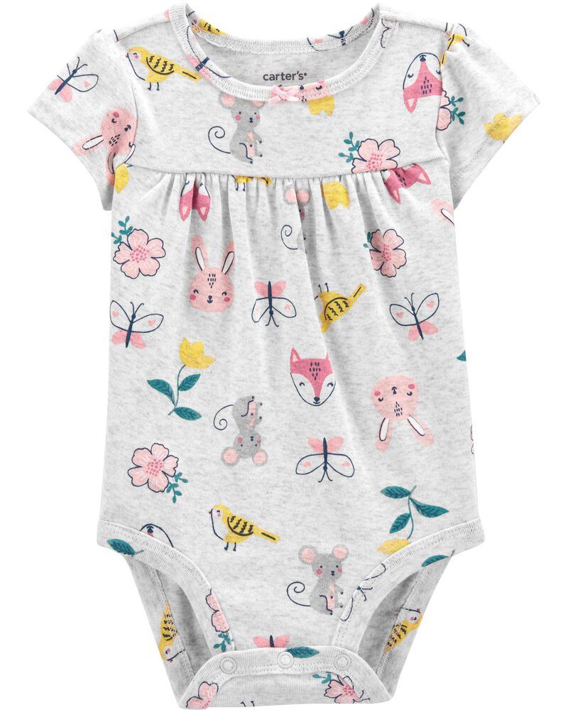 Janie And Jack Butterfly Floral Footed 1-Piece Bodysuit