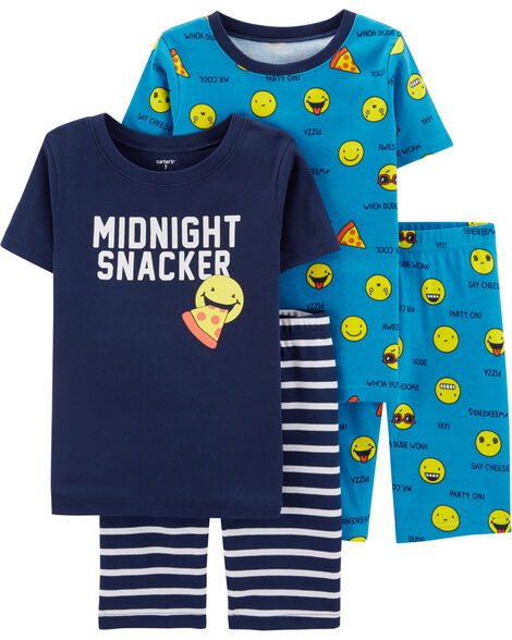4-Piece Emoji Snug Fit Cotton PJs