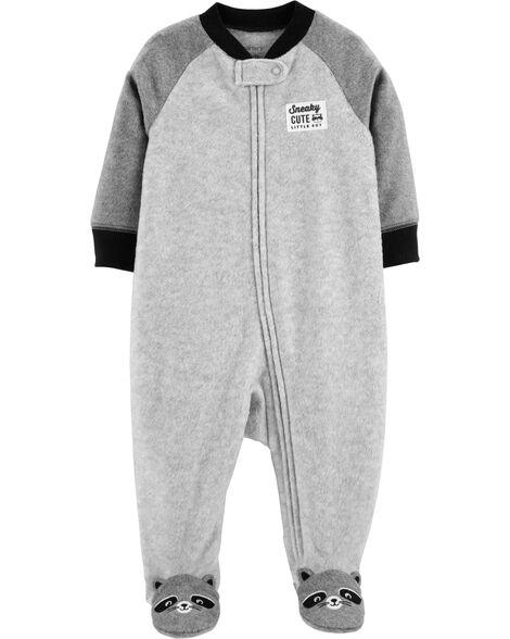 72646abc9484 Raccoon Zip-Up Fleece Sleep   Play