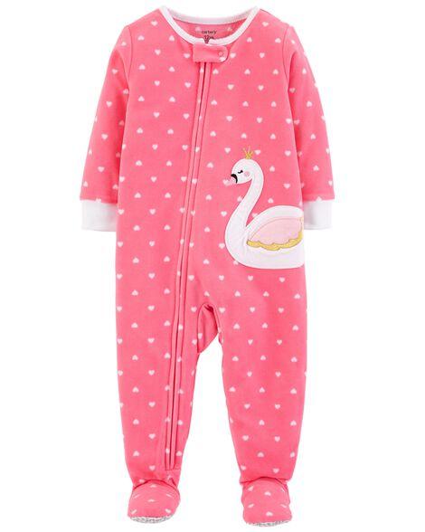 1-Piece Swan Fleece PJs