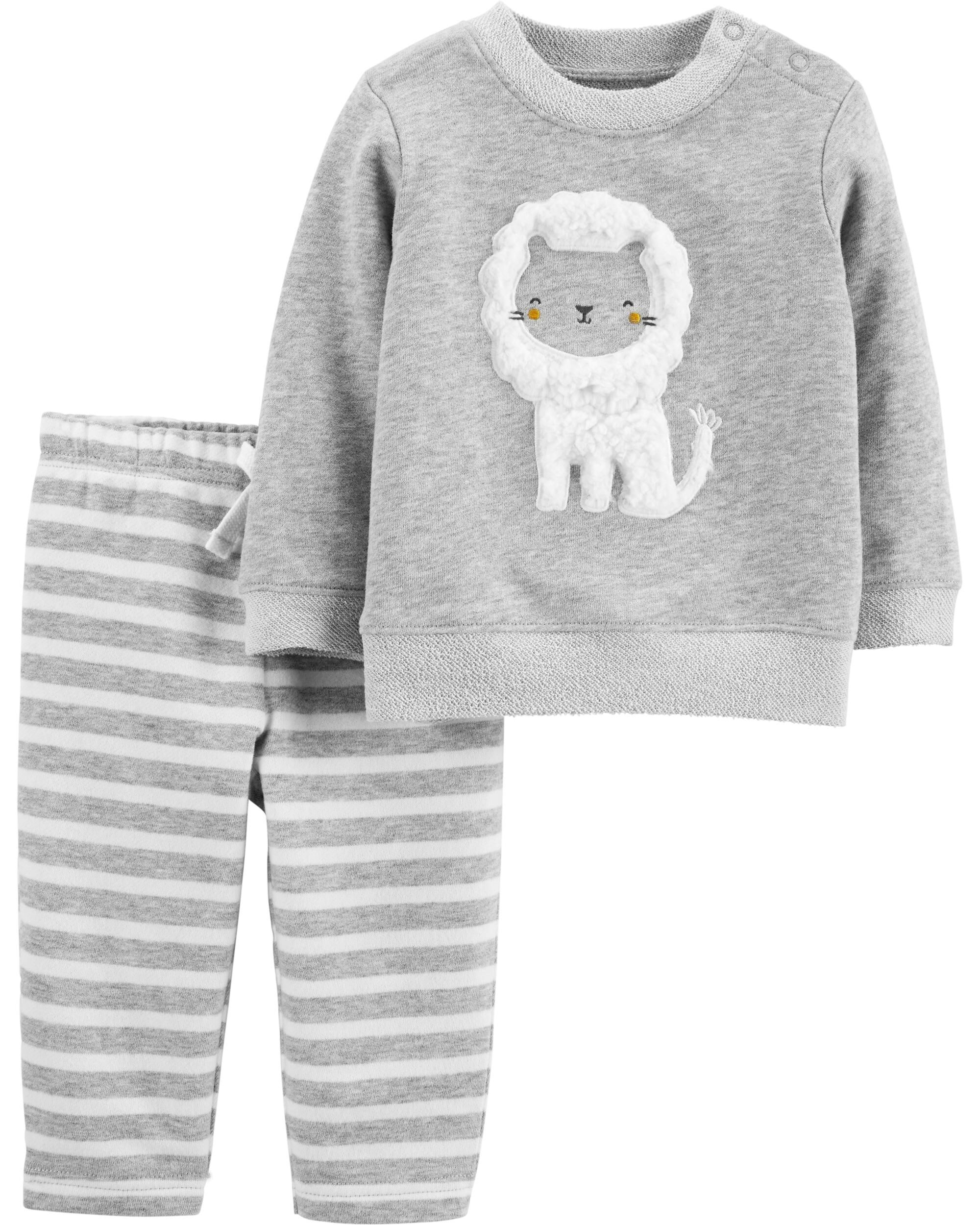 2-Piece Lion French Terry Top & Striped Pant Set