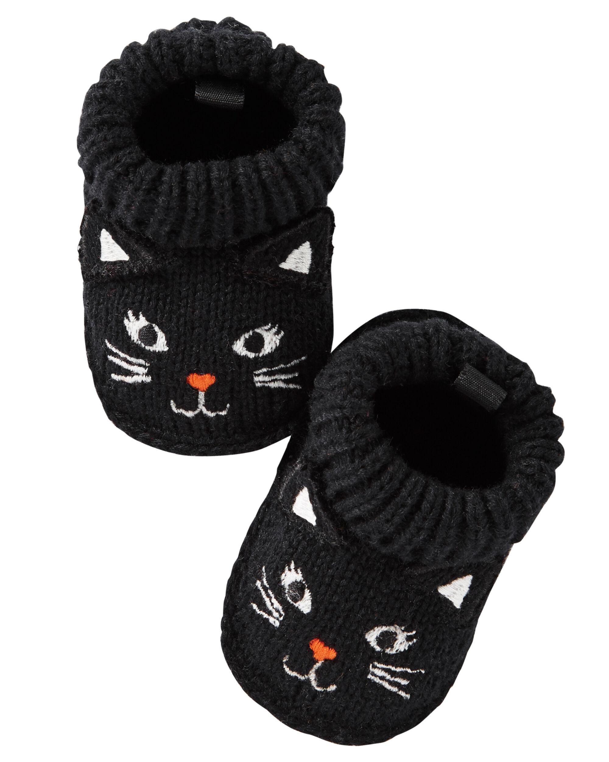 Black Cat Crocheted Booties