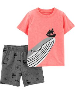 99b1aa73fb4 2-Piece Whale Slub Jersey Tee   French Terry Short Set
